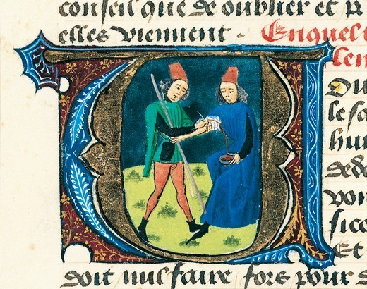 Bloodletting, miniature from the Treaty of Medicine by Aldebrande of Florence, manuscript, 1365, Italy 14th Century. : Stock Photo