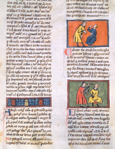 Stock Photo: 1788-33696 Medical treatments, miniature from the Chirurgiae Magistri Rogerii (The Surgery of Master Rogerius) by Roggerio dei Frugardi or Rogerius Salernitanus, Latin manuscript, France 14th century.