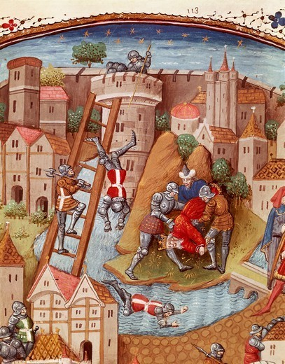 Storming a fortress using ladders, miniature from the Book of Noble Cases by Giovanni Boccaccio, manuscript, folio 106, France 15th century. : Stock Photo