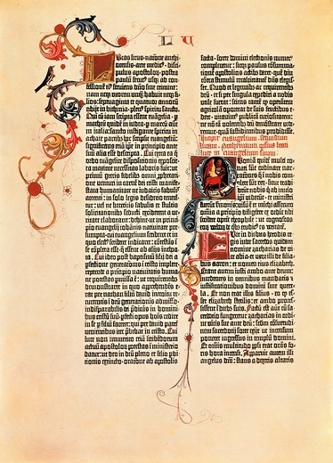 Page from the Bible of 42 lines (Mazarina), printed by Johan Gutenberg, 15th Century. : Stock Photo