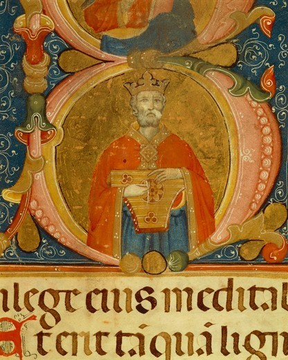 King David performing the lyre, miniature from an Umbrian manuscript, Italy 16th Century. : Stock Photo