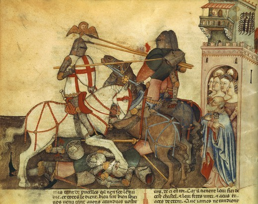 Knights' Tournament, miniature from Lancelot of the Lake, manuscript, France 14th Century. : Stock Photo