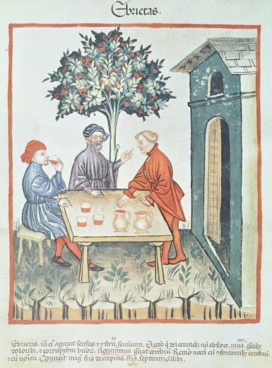 Stock Photo: 1788-33820 Drunkenness, miniature by Giovannino de Grassi from the Tacuinum Sanitatis (The Medieval Health Handbook), Italy 14th Century.