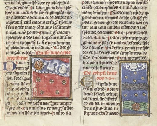 Stock Photo: 1788-33858 France - 13th century - Albertus Magnus, On the Nature of Things (De Natura Rerum). Illuminated manuscript from Saint-Amand Abbey. Folio 197, recto: Lunar eclipse and planets' movement compared with the moon and the sun