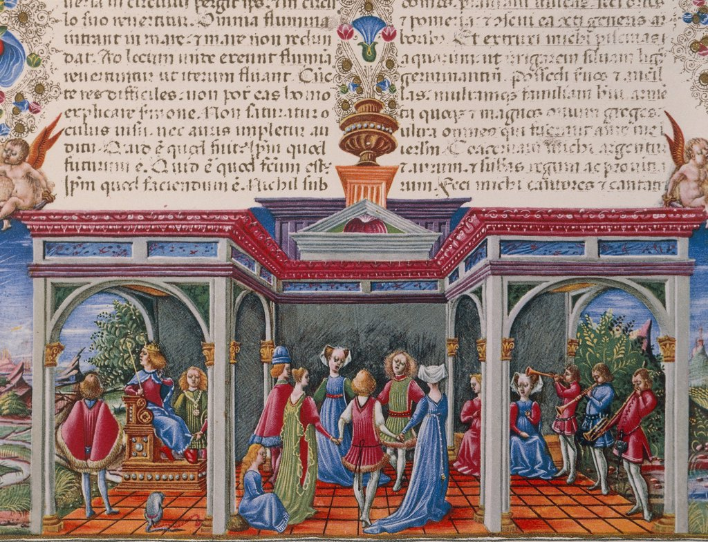 Dance with music, miniature from the Bible of Borso d'Este, Italy 15th Century. : Stock Photo