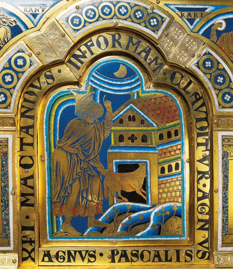 Stock Photo: 1788-33893 The Jewish Passover, piece in enamel polychrome by Nicolas de Verdun from the monastery of Klosterneuburg, 1181, Austria.