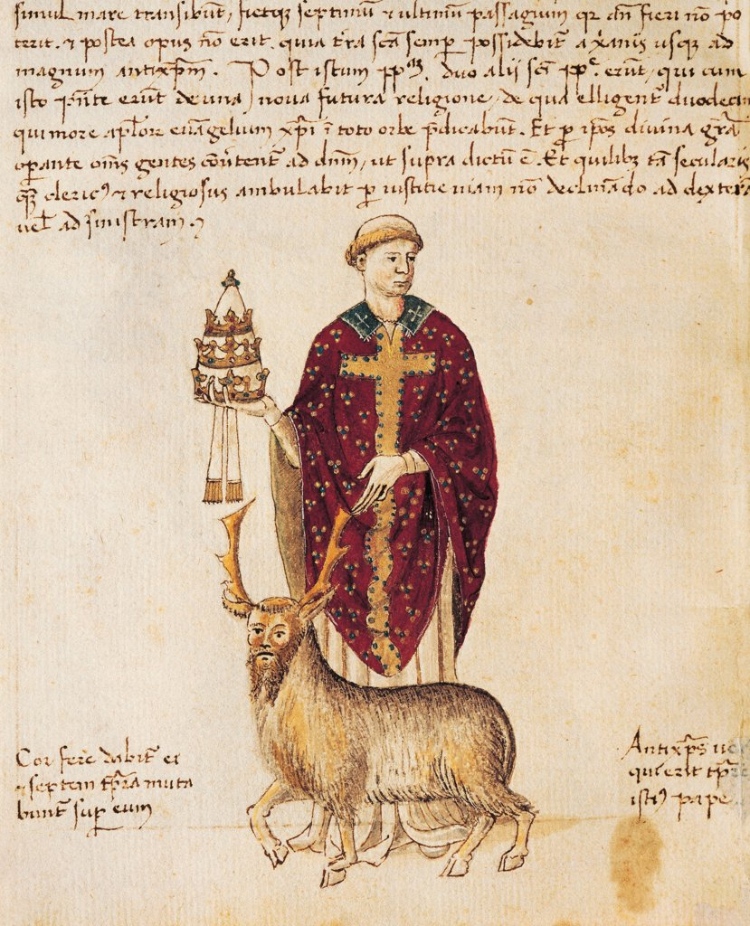 The antipope Innocent III (Lando di Sezze), miniature from a Latin manuscript, 12th Century. : Stock Photo