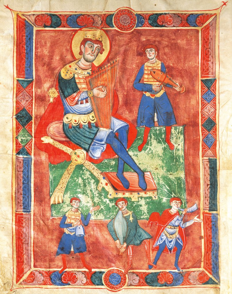 Stock Photo: 1788-33906 King David performing the lyre surrounded by musicians, miniature from a medieval Psaltery, Italy 12th Century.
