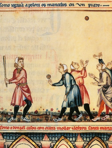 Stock Photo: 1788-33936 Playing a game of pelota, illuminated page from The Cantigas de Santa Maria Alfonso X the Wise, manuscript, Spain 13th Century.