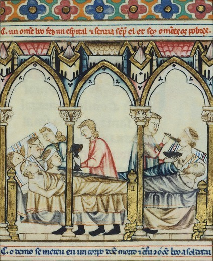 Stock Photo: 1788-33942 Caring for patients, miniature from The Cantigas de Santa Maria Alfonso X the Wise, manuscript, Spain 13th Century.