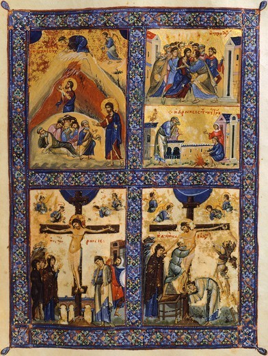 Stock Photo: 1788-33952 Scenes from the Passion of Christ, miniature from Greek Code, Greece 11th Century.