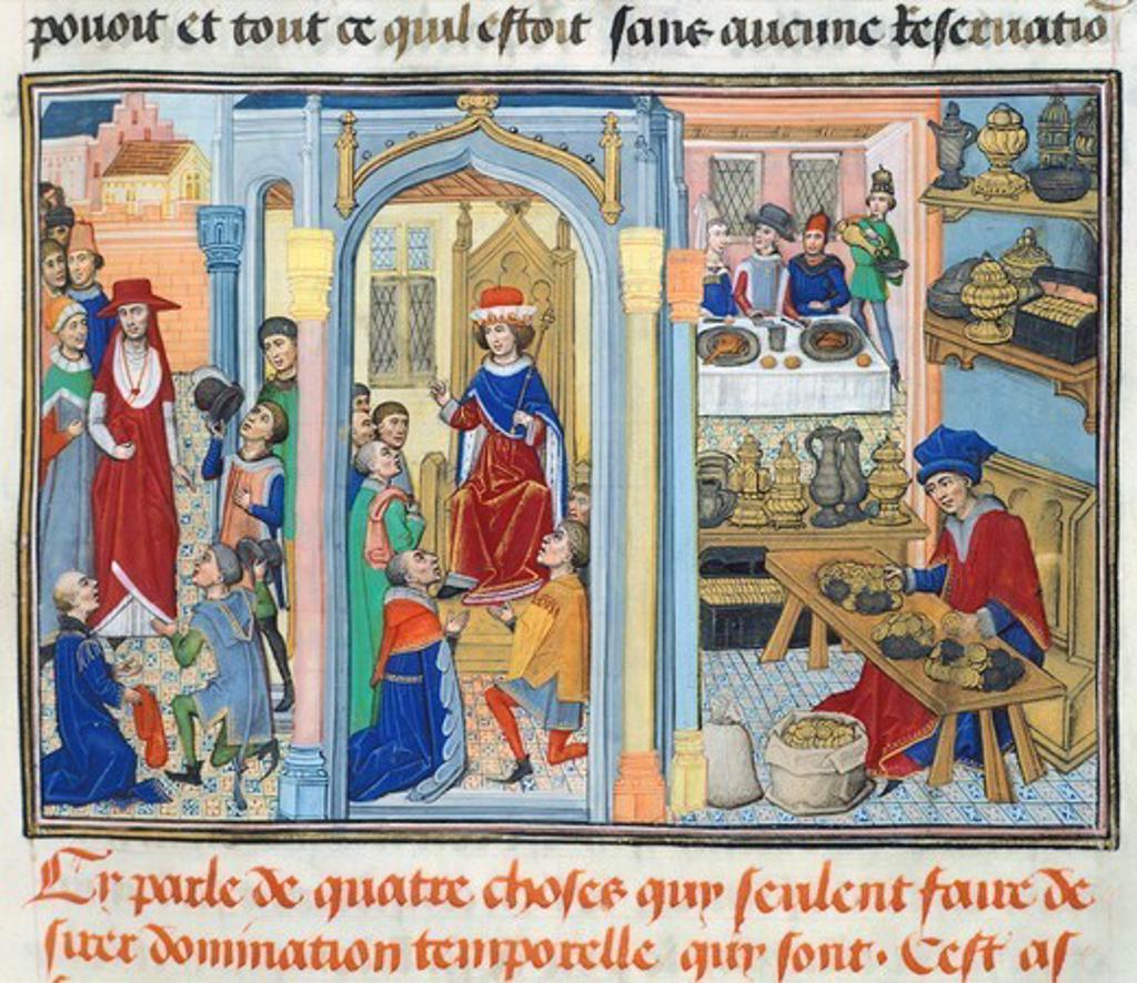 Stock Photo: 1788-33959 Miniature from Jean de Gerson's Devotions (Miroir d'Humilite'), manuscript, 1462, France.