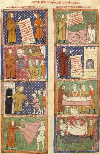 Historiated page: history of an oblate, miniature from the Breviary of Love, by Matfre Ermengau, Provencale Code Manuscript folio 31 verso, France late 13th Century-Early 14th Century. : Stock Photo