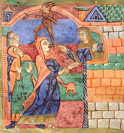 Stock Photo: 1788-34039 Radegunda freeing a person of a demon, miniature from the Life of Saint Radegunda, illumination from Poitiers, Abbey of Saint Croix, manuscript, France 11th Century.