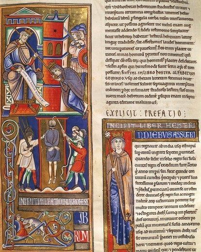 Stock Photo: 1788-34044 Stories of Esther, miniature from the Bible of Souvigny, Latin manuscript 1 folio 284 recto, 12th Century.