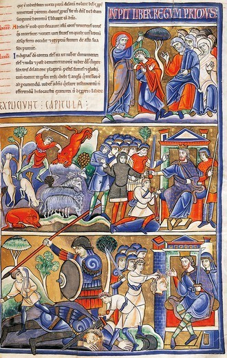 Stock Photo: 1788-34050 Episodes from the life of David, miniature from the Bible of Souvigny, Latin manuscript 1 folio 193 recto, 12th Century.