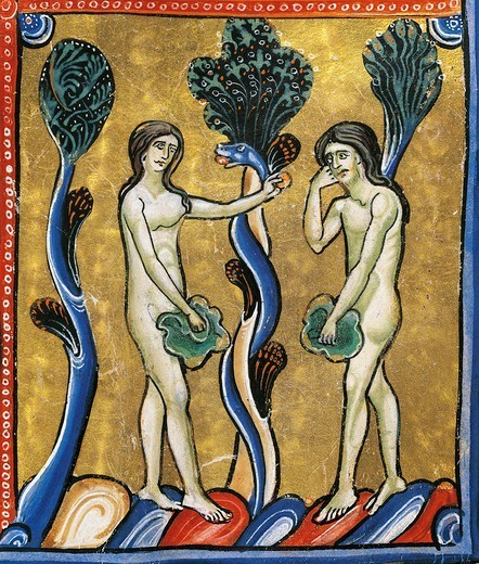 The Book of Genesis: the original sin of Adam and Eve, miniature from the Bible of Souvigny, Latin manuscript 1 folio 4 verso, 12th Century. : Stock Photo