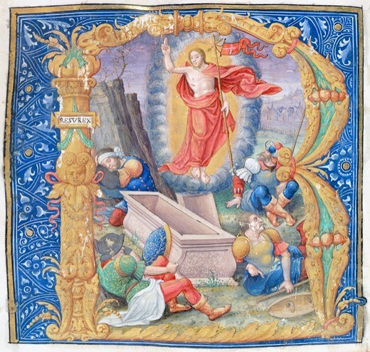 Resurrection of Christ, a miniature from a medieval antiphonary, Latin manuscript, 16th Century. : Stock Photo
