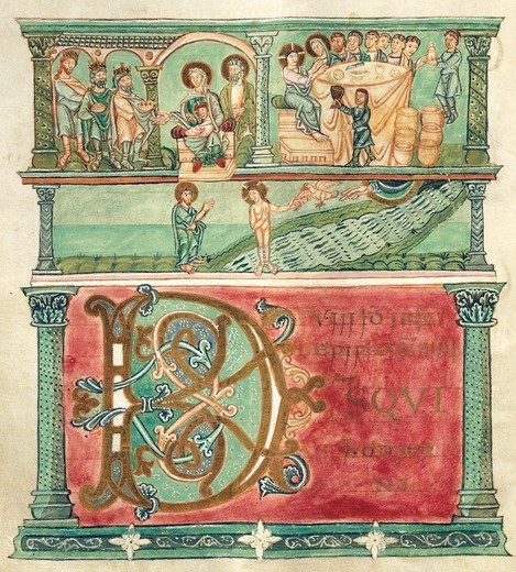 Adoring the Magi, wedding at Cana and baptising Christ, miniature from Liber Sacramentorum (the Book of Sacramentary), Latin manuscript 1 folio 18 verso, 10th Century. : Stock Photo