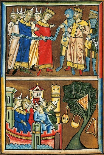 Jews in chains before King Nebuchadnezzar, mourning Jews inside the walls of Babylon, miniature from Beatae Elisabeth Psalterium, Latin manuscript folio 139 verso, Germany, 13th Century. : Stock Photo