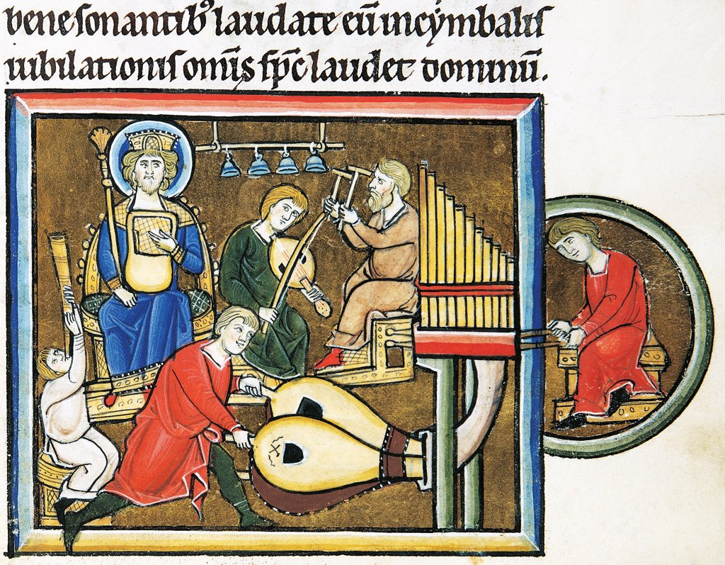 King David with Psaltery and tuba, organ, timpani and harpsichod musicians, miniature from Beatae Elisabeth Psalterium, Latin manuscript folio 149 recto, Germany, 13th Century. : Stock Photo
