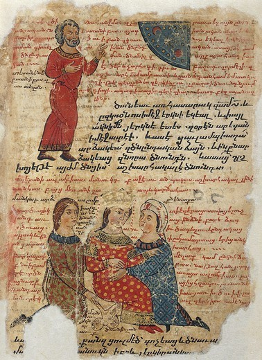 Stock Photo: 1788-34092 Olympias's delivery, the birth of Alexander, miniature from the The History of Alexander the Great by Pseudo-Callisthenes, Parchment Codex by the scribe Nerses, Greek manuscript 424, 13th-14th Century.