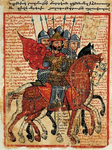 Alexander the Great leading his troops, miniature from the The History of Alexander the Great by Pseudo-Callisthenes, Parchment Codex by the scribe Nerses, Greek manuscript 424, 13th-14th Century. : Stock Photo