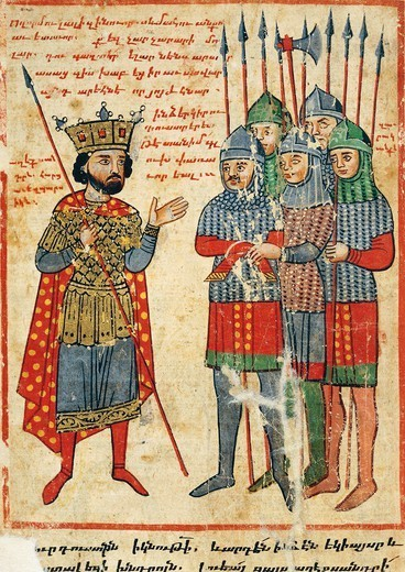 Alexander the Great speaking to his troops, miniature from the The History of Alexander the Great by Pseudo-Callisthenes, Parchment Codex by the scribe Nerses, Greek Manuscript 424, 13th-14th Century. : Stock Photo