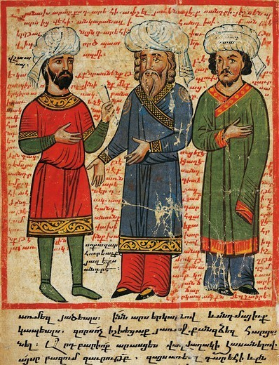 Darius and his dignitaries, miniature from the The History of Alexander the Great by Pseudo-Callisthenes, Parchment Codex by the scribe Nerses, Greek manuscript 424, 13th-14th Century. : Stock Photo