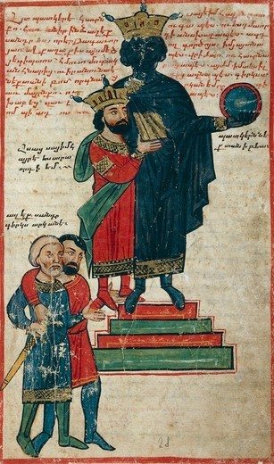 Alexander the Great and the Statue of Nactanebo, miniature from the The History of Alexander the Great by Pseudo-Callisthenes, Parchment Codex by the scribe Nerses, Greek manuscript 424, folio 27 recto, 13th-14th Century. : Stock Photo