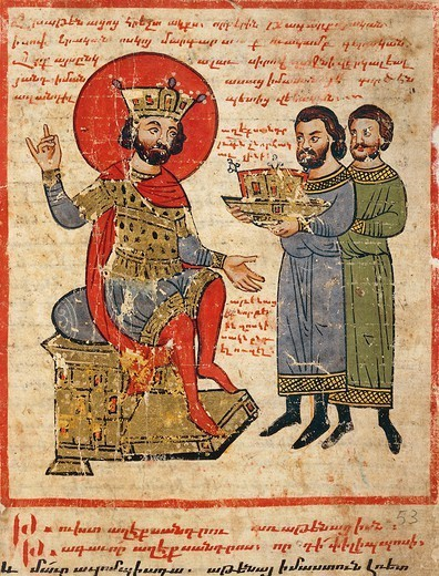 Persians paying tribute to Alexander the Great on the throne, miniature from the The History of Alexander the Great by Pseudo-Callisthenes, Parchment Codex by the scribe Nerses, Greek manuscript 424, 13th-14th Century. : Stock Photo