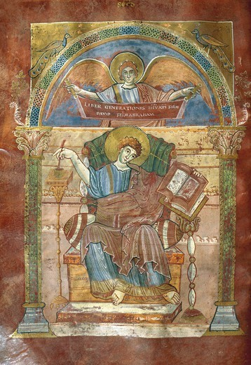 Stock Photo: 1788-34108 Saint Matthew, from the Gospel of Saint Riquier, or the the Gospel of Charlemagne, manuscript, France ca 800.
