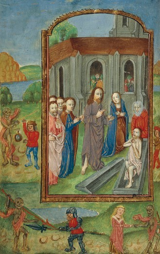 The resurrection of Lazarus, miniature from a Latin Book of Hours, manuscript C 1761 folio 119 verso, The Netherlands, beginning 16th Century. : Stock Photo
