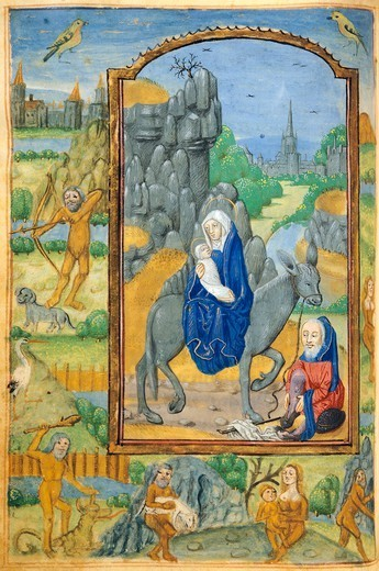 Stock Photo: 1788-34131 The Flight into Egypt, miniature from a Latin Book of Hours, manuscript C 1761 folio 90 verso, The Netherlands, beginning 16th Century.