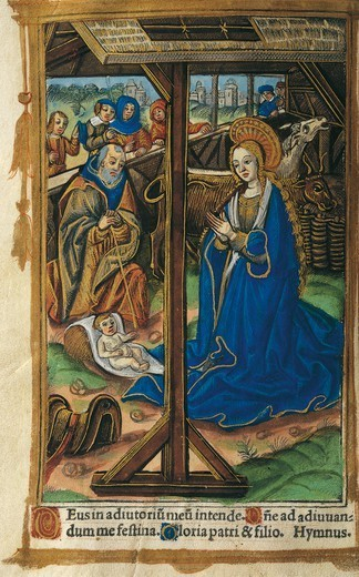 Stock Photo: 1788-34134 The Nativity, miniature from a Latin Book of Hours, manuscript C 1268 folio 24 verso, 16th Century.