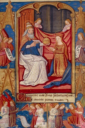 Stock Photo: 1788-34157 The Coronation of the Virgin Mary, miniature from the Book of Hours Use of Poitiers, Latin and French manuscript illustrated by a student of Robinet Testard, manuscript 1097 folio 35 verso, France end of 15th Century.