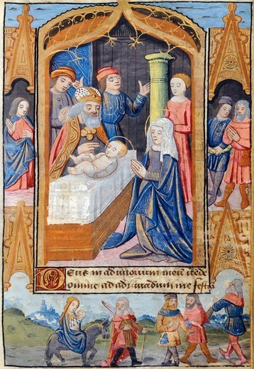 Stock Photo: 1788-34160 Presentation of Jesus in the temple, miniature from the Book of Hours Use of Poitiers, Latin and French manuscript illustrated by a student of Robinet Testard, manuscript 1097 folio 30 verso, France end of 15th Century.