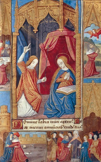 The annunciation, miniature from the Book of Hours Use of Poitiers, Latin and French manuscript illustrated by a student of Robinet Testard, manuscript 1097 folio 11 recto, France end of 15th Century. : Stock Photo