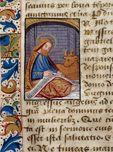 Stock Photo: 1788-34172 St Luke, miniature from the Book of Hours Use of Poitiers, Latin and French manuscript illustrated by a student of Robinet Testard, manuscript 1097 folio 2 recto, France end of 15th Century.