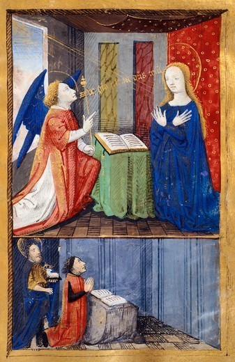 The annunciation, Saint John the Baptist and a donor, miniature from the Book of Hours Use of Poitiers, Latin and French manuscript, attributed to Evrard d'Espinques, manuscript 1096 folio 43 recto, France end of 15th Century. : Stock Photo