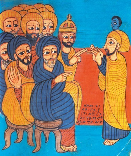 Stock Photo: 1788-34187 Christ teaching, miniature from a liturgical parchment book, Coptic manuscript, 18th-19th Century.