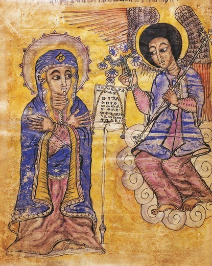 The Annunciation, Coptic miniature, 17th Century. : Stock Photo