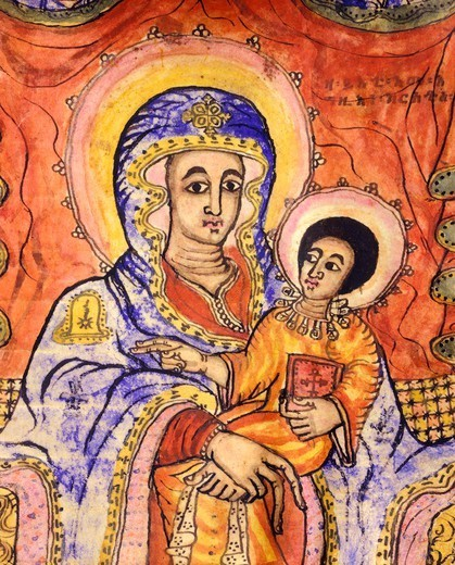Stock Photo: 1788-34194 Madonna and child enthroned, miniature, Coptic art, 18th Century. Detail.