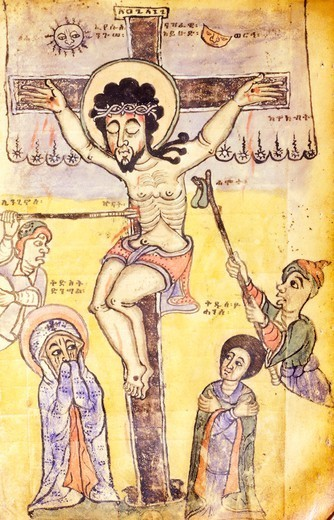 Stock Photo: 1788-34197 The Crucifixion, miniature, Coptic art, 17th Century.