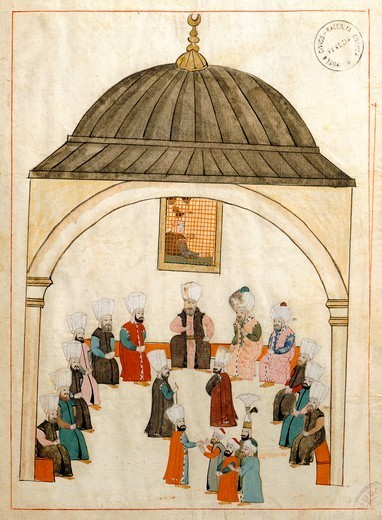 Stock Photo: 1788-34245 The hall of the large sofa, where the court dignitaries used to meet, high up on the wall was a grate for spying and eavesdropping in the meetings below, miniature from Turkish Memories, Arabic manuscript, Cicogna Codex, Turkey 17th Century.