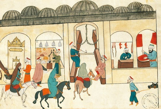 Stock Photo: 1788-34256 The covered bazaar in Istanbul, miniature from Turkish Memories, Arabic manuscript, Cicogna Codex, Turkey 17th Century.