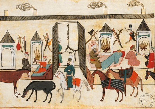 Stock Photo: 1788-34257 Interior of a Turkish caravansary (inn), miniature from Turkish Memories, Arabic manuscript, Cicogna Codex, Turkey 17th Century.