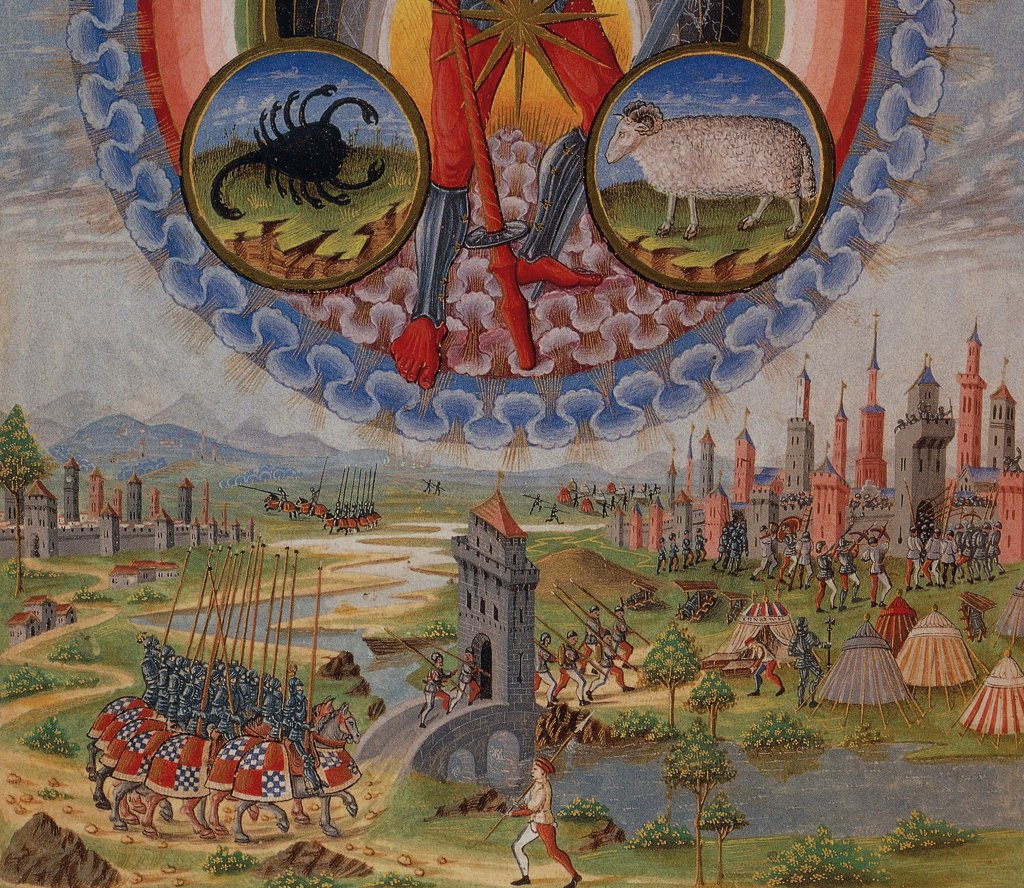 The planet Mars and a castle under siege, detail from a miniature from De Sphaera by Leonardo Dati, Latin Manuscript folio 209 verso 7, 1470, Italy. : Stock Photo