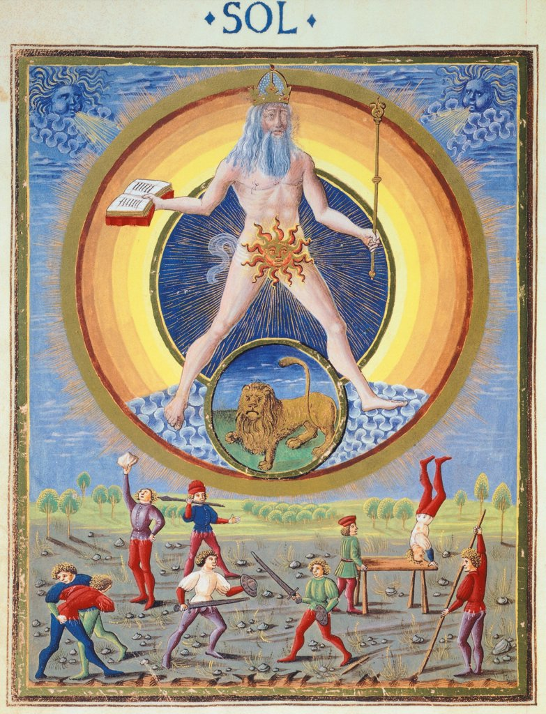 Stock Photo: 1788-34268 The sun and different physical and sporting endeavours, miniature from De Sphaera by Leonardo Dati, Latin Manuscript folio 209 verso 8, 1470, Italy.