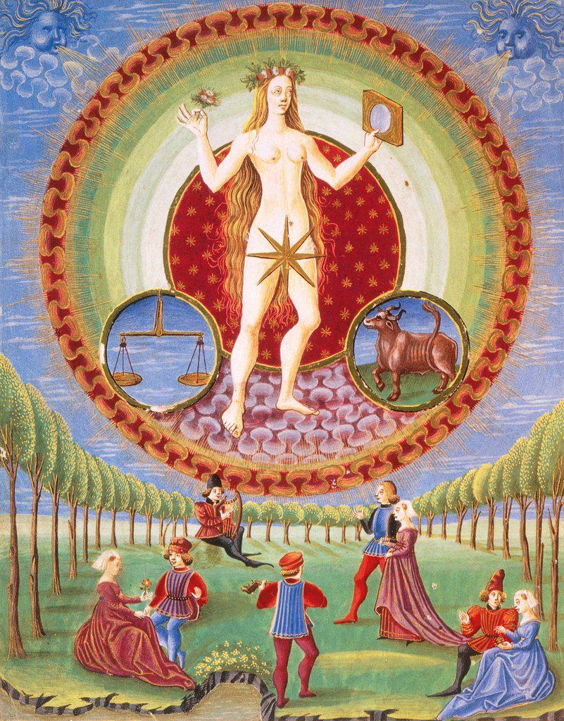 Stock Photo: 1788-34270 The planet Venus and the garden of love, miniature from De Sphaera by Leonardo Dati, Latin Manuscript folio 209 verso 9, 1470, Italy 15th Century.